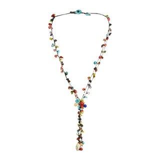 Cotton Rope Multi-strand Gemstone Tassel Necklace (Thailand)