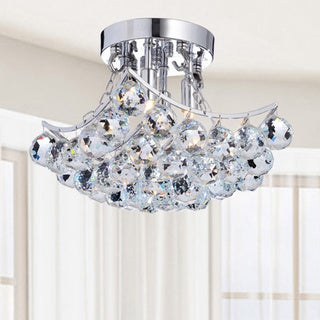 Indoor 4-Light Chrome And Crystal Flushmount Chandelier