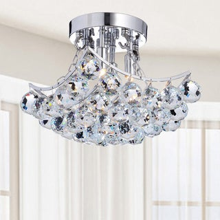 Indoor 4-Light Chrome And Crystal Flushmount Chandelier
