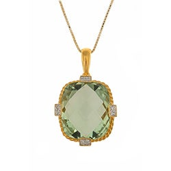 Gold over Silver Green Amethyst and Diamond Accent Necklace
