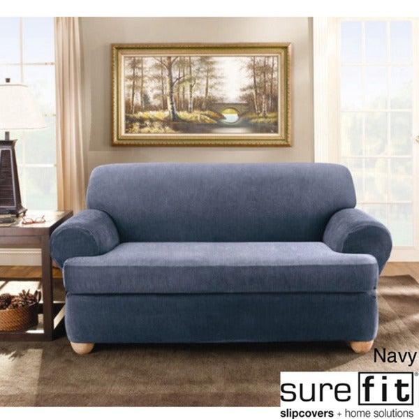 Sure Fit Stretch Stripe 2-piece T-cushion Sofa Slipcover