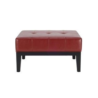 Safavieh Fulton Storage Red Bicast Leather Square Ottoman