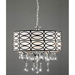 Indoor 4-light Chrome/ Crystal/ Antique Bronze Shade Chandelier