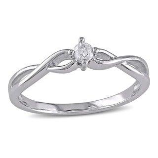 Haylee Jewels 10k Gold 1/10ct TDW Diamond Promise Ring (H-I, I2-I3)