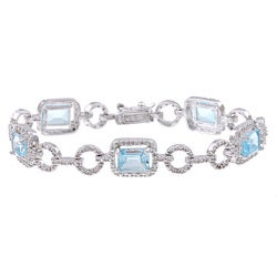 Dolce Giavonna Sterling Silver Blue Topaz and Diamond Accent Link Bracelet