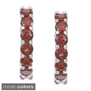 Dolce Giavonna Sterling Silver Hoop Earrings