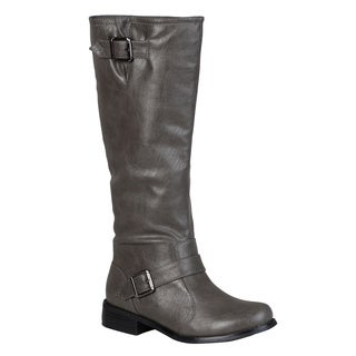 Journee Collection Women's 'Asiana-08' Regular and Wide-calf Buckle Knee-high Riding Boot