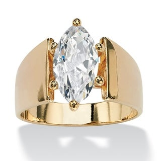 PalmBeach CZ 14k Yellow Gold Overlay Marquise-cut Cubic Zirconia Ring Glam CZ