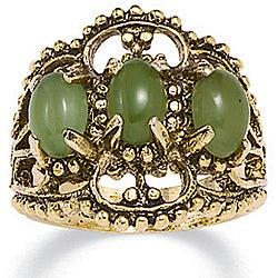 PalmBeach 14k Yellow Gold Overlay Jade Antiqued Filigree Ring Naturalist