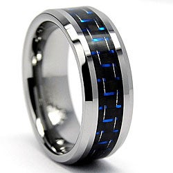 Men's Tungsten with Black and Blue Carbon Fiber Inlay Ring (8 mm)