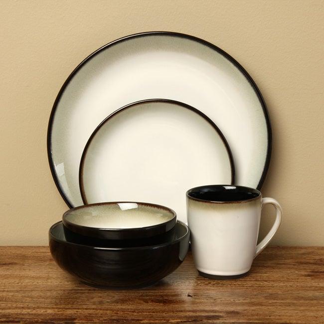 Sango 40-piece Nova Black Stoneware Dinnerware Set