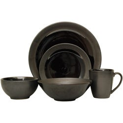 Sango 40-piece Bistro Black Stoneware Dinnerware Set