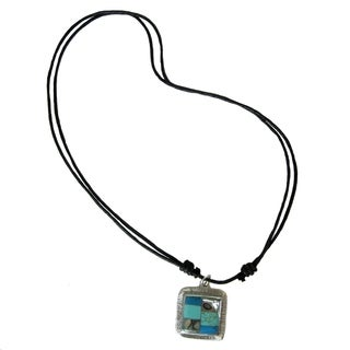 Silver Turquoise and Abalone Necklace (Mexico)