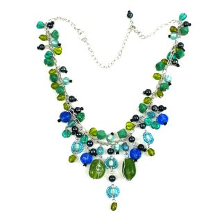 Silver Metal Green and Blue Glass Bead Charm Necklace (India)