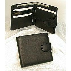 JDD Black Leather Snap-closure Wallet