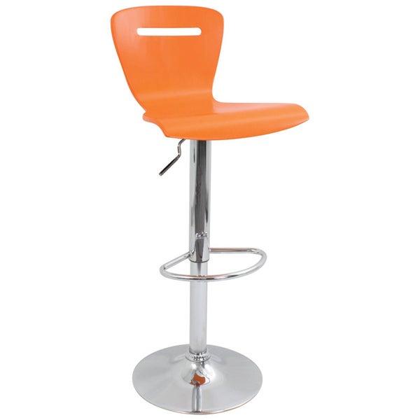 H2 Wood Hydraulic Orange Barstool