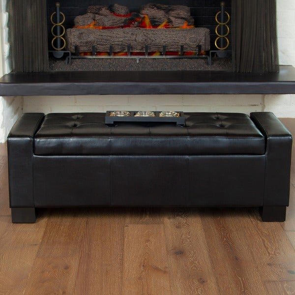 Christopher Knight Home Guernsey Black Bonded Leather Storage Ottoman Bench
