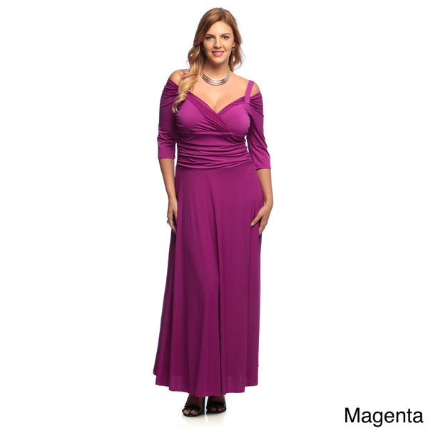 Evanese Women's Plus Size 3/4-sleeve Long Dress