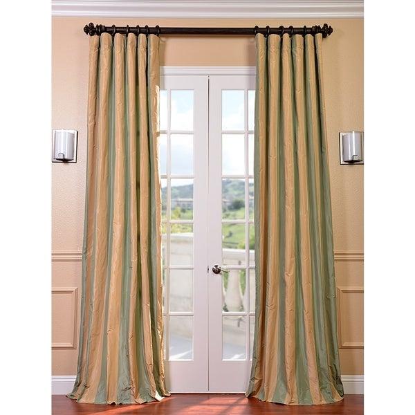 Signature Stripe Beige/ Sea Foam Green Faux Silk Taffeta Curtain Panel