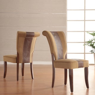 TRIBECCA HOME Andorra Velvet and Faux Alligator Leather Dining Chair (Set of 2)