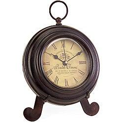 Iron Argento Brown Desk Clock