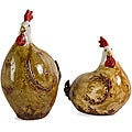 Set of 2 Ceramic Barnyard Chickens