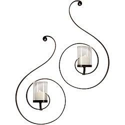 Set of 2 Argento Spiral Sconces