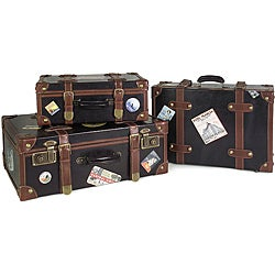 Set of 3 Passport Labeled Decorative Suitcases