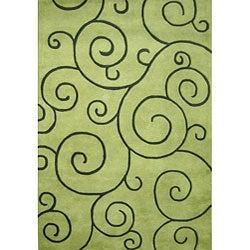 Alliyah Handmade Lime Green New Zealand Blend Wool Rug (4' x 6')