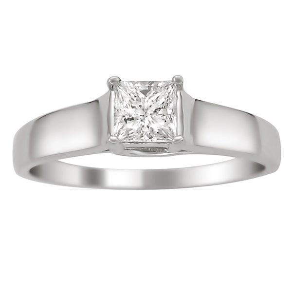 14k White Gold 1/4ct TDW Certified Princess Cut Diamond Ring (H-I, I1)