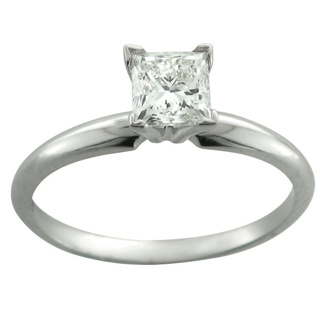 14k White Gold 1/2ct TDW Certified Diamond Engagement Ring (H-I,I1)