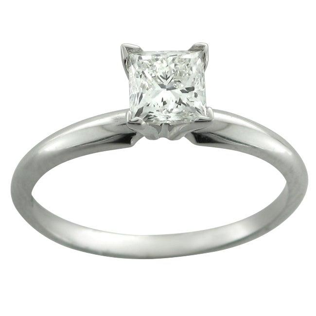 14k White Gold 3/4ct TDW Diamond Solitaire Engagement Ring (H-I, I1)