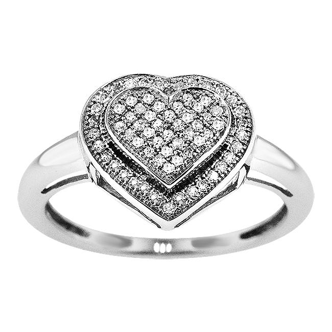 Sterling Silver 1/4ct TDW Diamond Heart Cocktail Ring (I-J, I2-I3)