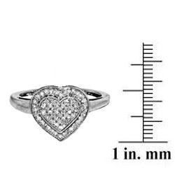 Sterling Silver 1/4ct TDW Diamond Heart Cocktail Ring (I-J, I2-I3)
