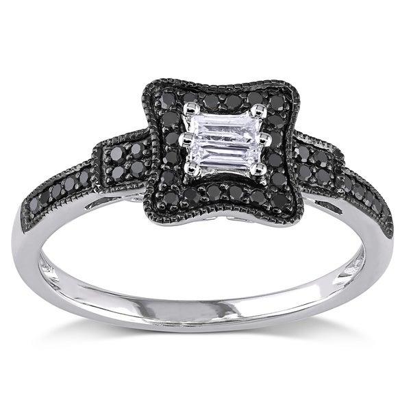 Miadora 10k Gold 1/4ct TDW Black and White Baguette-Cut Diamond Ring (G-H, I1-I2)