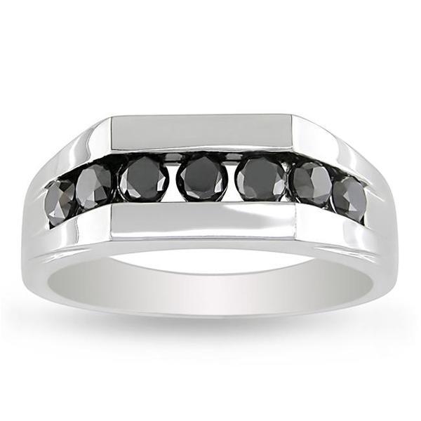 Miadora 10k White Gold 1ct TDW Black Diamond Men's Ring