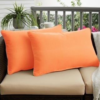 Canvas Tangerine Corded Outdoor Pillows (Set of 2)