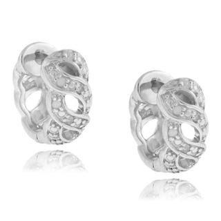 Finesque Sterling Silver 1/10ct TDW Diamond Link Hoop Earrings (I-J, I1-I2)