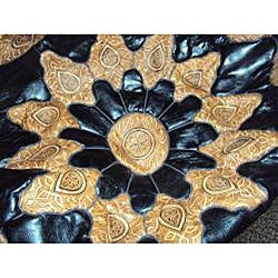 Hand-crafted Round Mosaic Black Leather Ottoman (Made in Morocco)