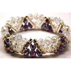 Amethyst Purple Crystal and Rhinestone Stretch Bracelet