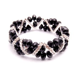Jet Black Crystal and Rhinestone Stretch Bracelet