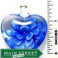 Hand-crafted Murano-inspired Glass Clear/Blue Flower Heart Pendant