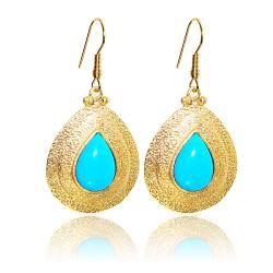 Adee Waiss 18k Gold Overlay Magnesite Turquiose Teardrop Earrings