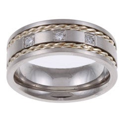 Stainless Steel and Silver 1/10ct TDW Men's Diamond 3-stone Band (H-I, I2-I3)