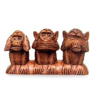 Wood 'Three Wise Monkeys' Sculpture (Indonesia)