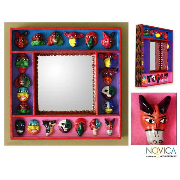 Ceramic and Wood Handmade 'Party of Masks' Retablo Wall Mirror (Peru)