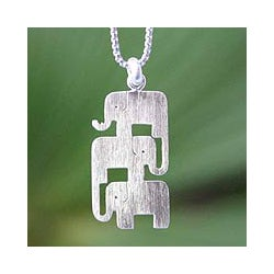 Sterling Silver 'Elephant Stack' Necklace (Thailand)