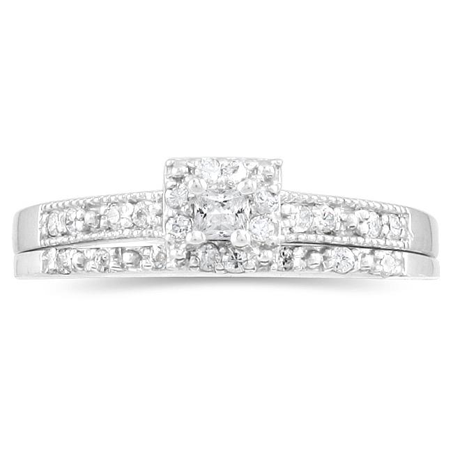 10k White Gold 1/3ct TDW Princess Diamond Bridal Ring Set (I-J, I1-I2)