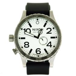 Nixon Men's Tide Watch Stainless Steel White Dial Black Rubber Band Watch