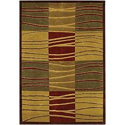 Hand-Knotted Green/Gold/Burgundy Mandara Wool Rug (7'9 x 10'6)